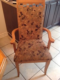 brown wooden framed brown floral padded armchair Montréal, H1Z 4C8