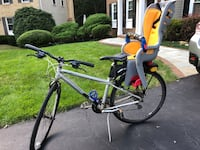 Trek hybrid bike with child carrier