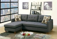 BLUE GRAY POLYFIBER REVERSIBLE SECTIONAL SOFA   Rancho Cucamonga