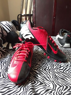 red-and-black Nike cleats