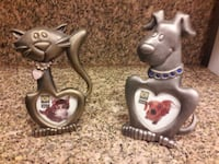 two grey cat and dog themed photo frames