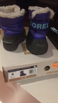 size 4 purple-and-black Sorel Snow Commander duck boots with box 723 km