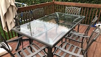 brown wooden framed glass top table Chambly, J3L