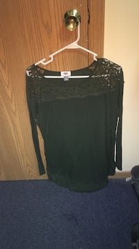 Olive green long sleeve lace top