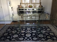 Clear Beveled Glass Rectangular Dining Table W/Glass Base. 43 km
