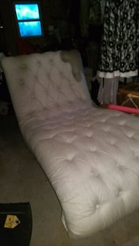 Oatmeal colored ruffed chaise lounge . Hannibal, 13074