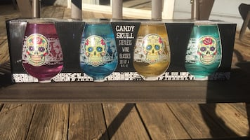 Candy Skull Wine Glass - Stemless (set of 8) NEW in box.