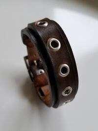 Genuine Leather Bracelet Handmade Wristband Cuff - Unisex Size Small Cape Coral
