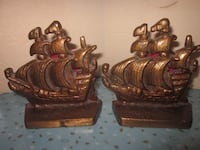 Vintage Solid Cast Iron Gold Tone Spanish Galleon Ship Bookends Winnipeg