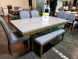 Marble dining table and chairs set with bench