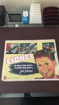 Lionel printed tin poster