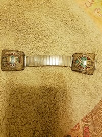 Turquoise and coral watch band, vintage 1954 mi