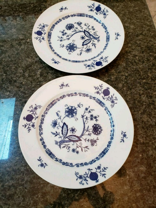 two white-and-blue porcelain plates.