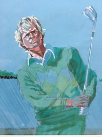 Vintage Jack Nicklaus Golf Sports Art by Warren Lamm