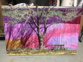 Abstract canvas - tree & picnic table