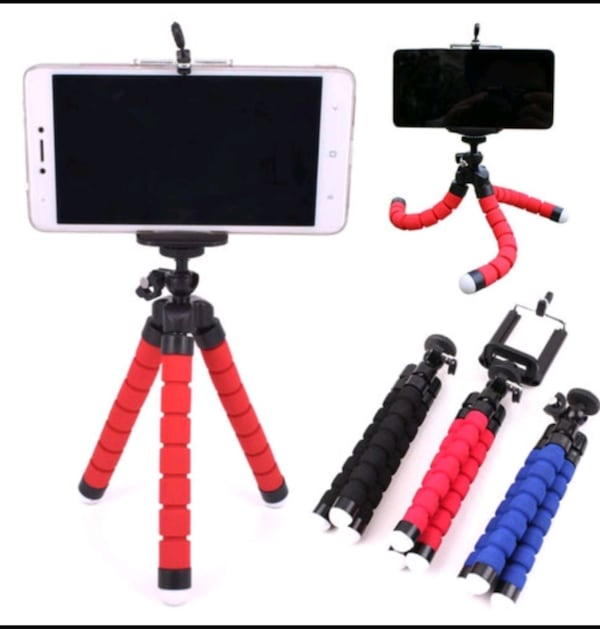 Spong Tripod with Phone Clip - Red 428e2f4b-caa8-44be-9db1-29b3fbbd0bc3
