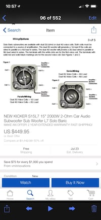 """Kicker L7 2 15"""" subs and Ground shaker box"""