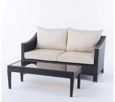 Outdoor Wicker Loveseat & Table with water resistant cushions