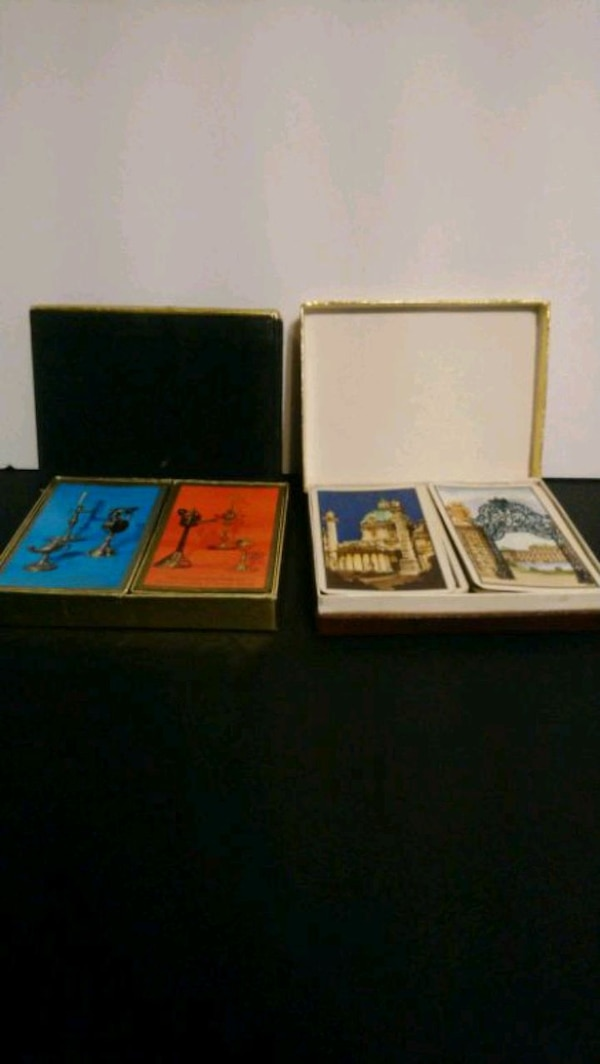 Vintage playing cards in box set