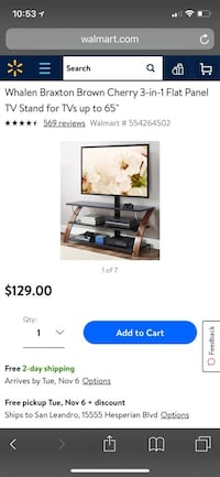 brown wooden TV stand with flat screen television screenshot San Leandro, 94578