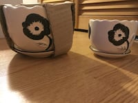 two white and black floral ceramic bowls Laval, H7N 1A9