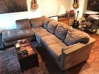 brown suede sectional sofa with throw pillows Huntington Beach, 92646