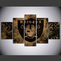 Framed Raiders canvas 5-panel painting Darby township, 19036