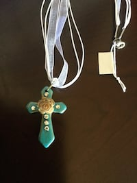 Bohemian Cross pendant with Rose & white ribbon necklace / New jewelry