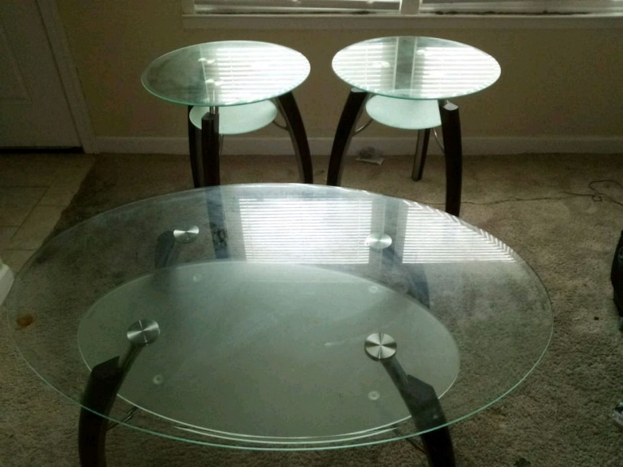 Photo 3 piece glass tables living room set