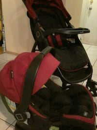 Safety1st red black car seat carrier and stroller.
