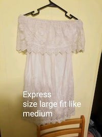 large-sized white lace express strapless capelet mini dress Summerton, 29148