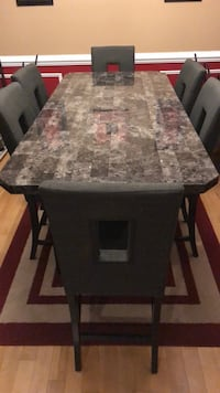 rectangular brown marble-top table with chairs King George, 22485