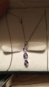 silver and purple gemstone pendant necklace Lothian, 20711