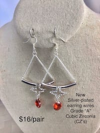 """New Earrings w/ Silver-plated earring wires Red Grade """"A"""" CZ's Chesapeake, 23320"""