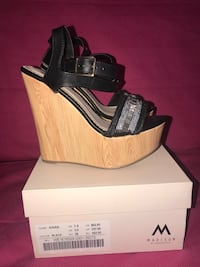 unpaired black open-toe ankle strap wedge sandal Germantown, 20876