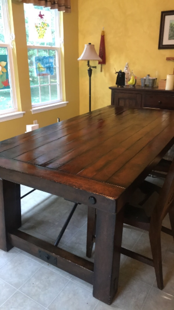 Used Pottery Barn Rustic Benchwright Table And Bench For Sale In