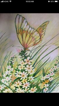 Green and yellow petaled flower painting Brampton, L6S 3J8
