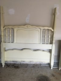 white wooden bed headboard and footboard 535 mi