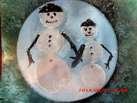 two snowman painted decorative plate Gaithersburg