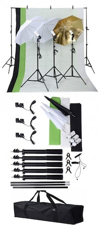 Brand new photo studio photography backdrop frame backdrops umbrellas lights stands complete kit  Los Angeles, 90033
