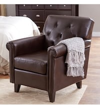 Pair of brown leather upholstered arm chairs  Frederick, 21701