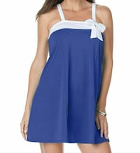 blue and white sleeveless mini dress with bow accent