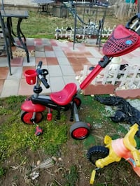 red and black push trike