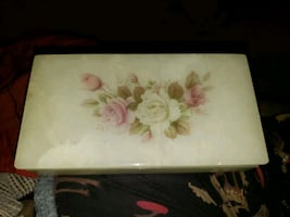 Alabaster hand carved jewelry box