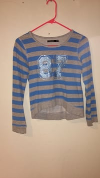 Blue and gray striped long-sleeved shirt Ottawa, K2B 7T5