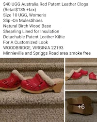 New Size 10 Red Leather Ugg, Removable top Woodbridge, 22193