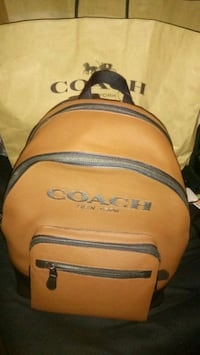 brown and black Coach backpack