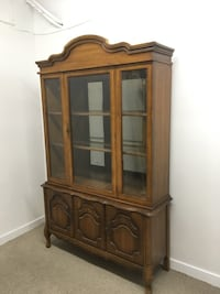 brown wooden framed glass display cabinet Abbotsford, V2T 2H3