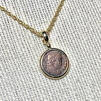 "Genuine 14k Gold Roman Coin Pendant with 18"" 14k Diamond Cut Rope Chain Ashburn"