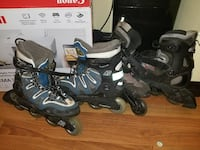 two pairs of blue and black inline skates